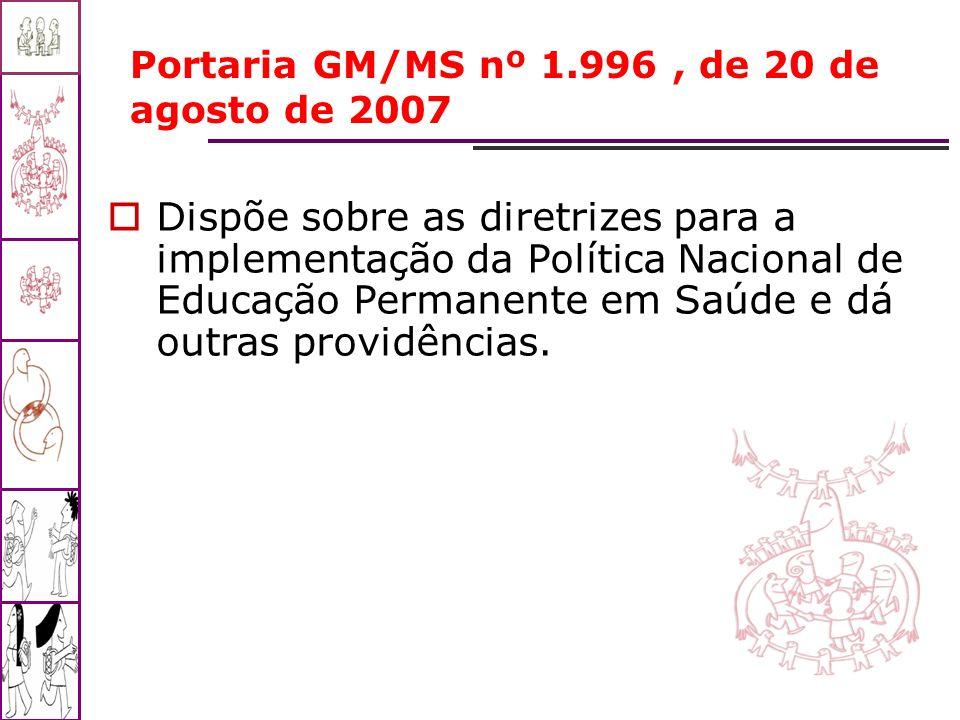Portaria GM/MS nº 1.996 , de 20 de agosto de 2007