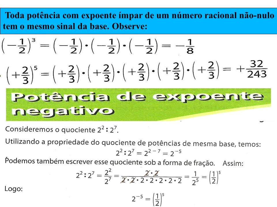 Toda potência com expoente ímpar de um número racional não-nulo tem o mesmo sinal da base. Observe: