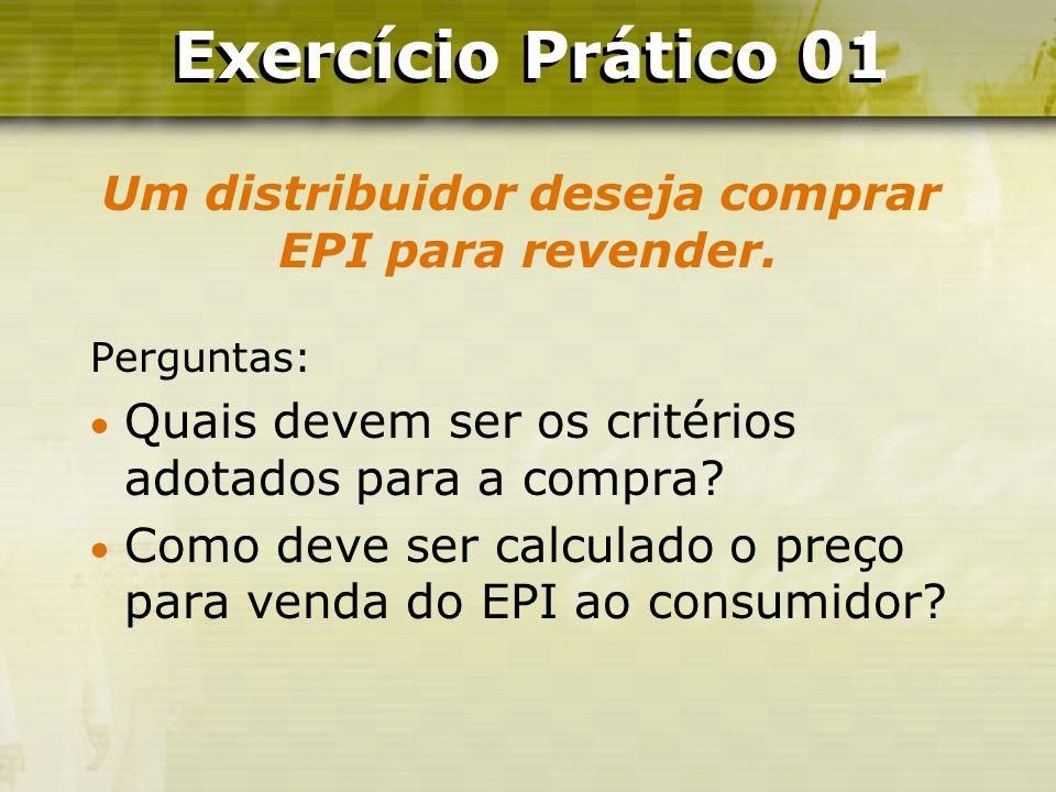 Um distribuidor deseja comprar EPI para revender.