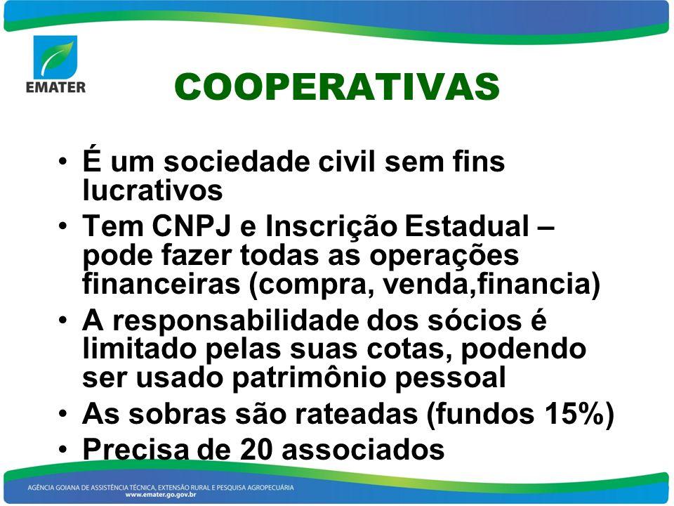 COOPERATIVAS É um sociedade civil sem fins lucrativos