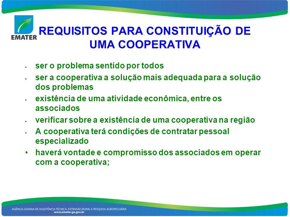 REQUISITOS PARA CONSTITUIÇÃO DE UMA COOPERATIVA