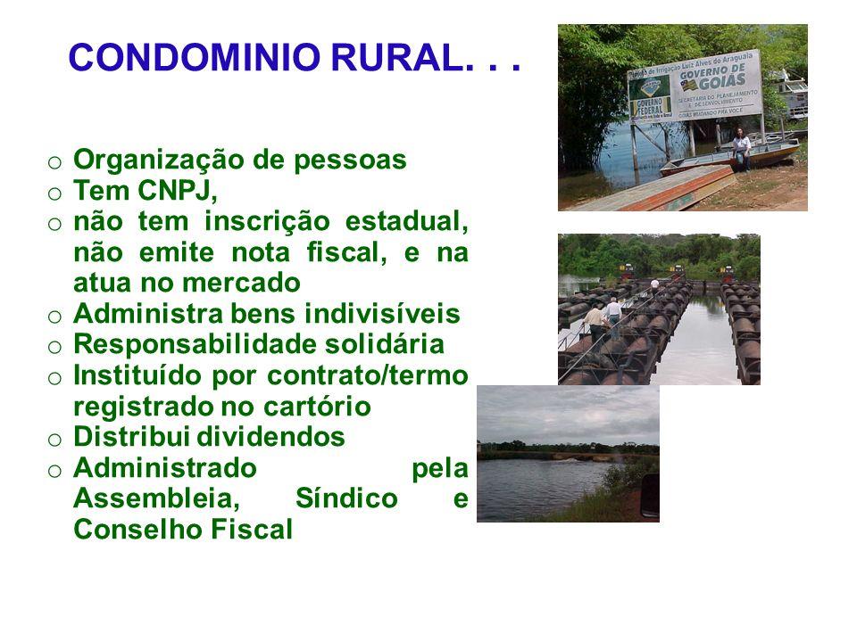 CONDOMINIO RURAL. . . Organização de pessoas Tem CNPJ,