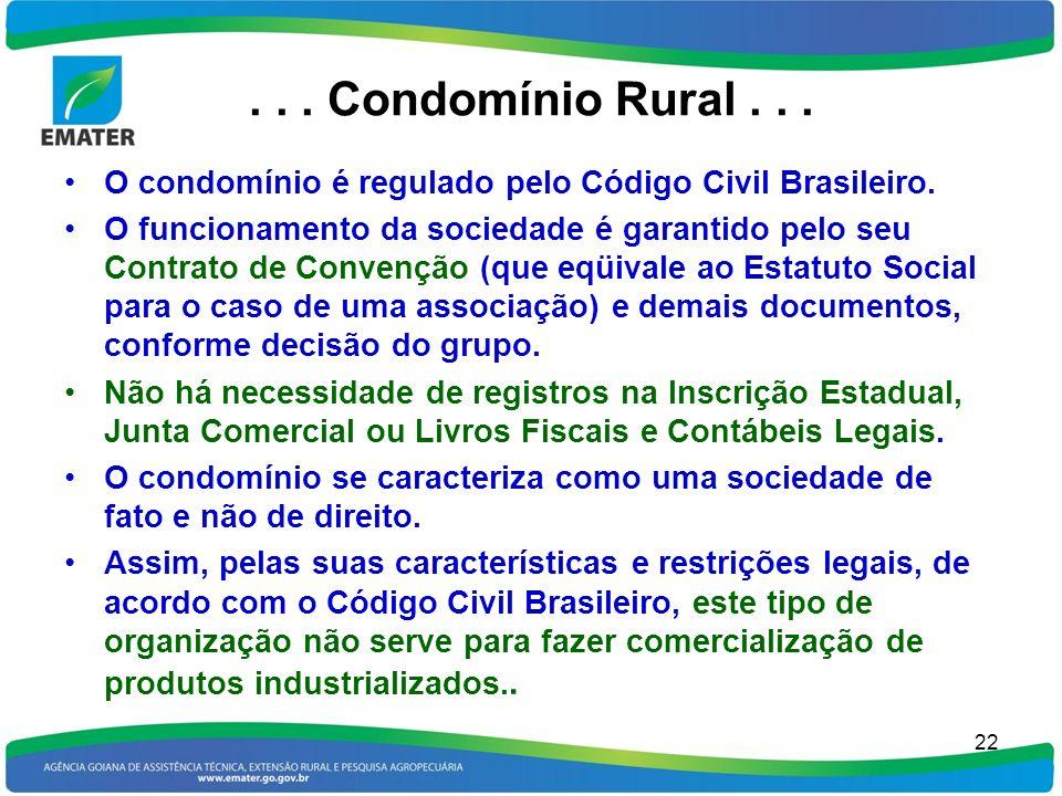 . . . Condomínio Rural . . . O condomínio é regulado pelo Código Civil Brasileiro.