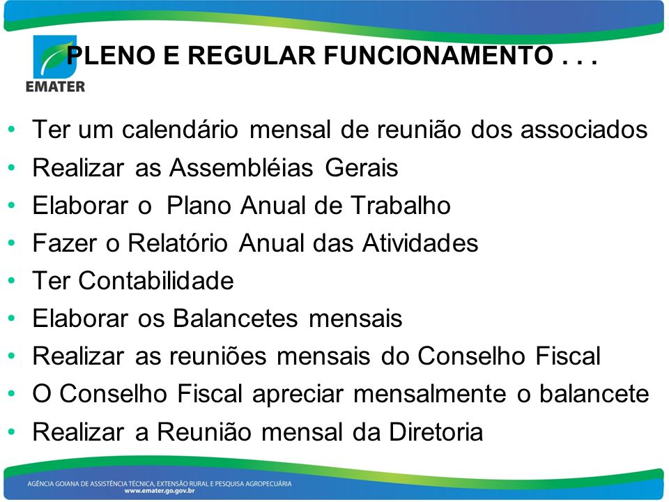 PLENO E REGULAR FUNCIONAMENTO . . .