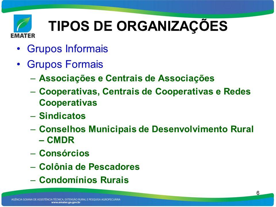 TIPOS DE ORGANIZAÇÕES Grupos Informais Grupos Formais
