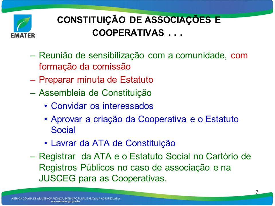 CONSTITUIÇÃO DE ASSOCIAÇÕES E COOPERATIVAS . . .