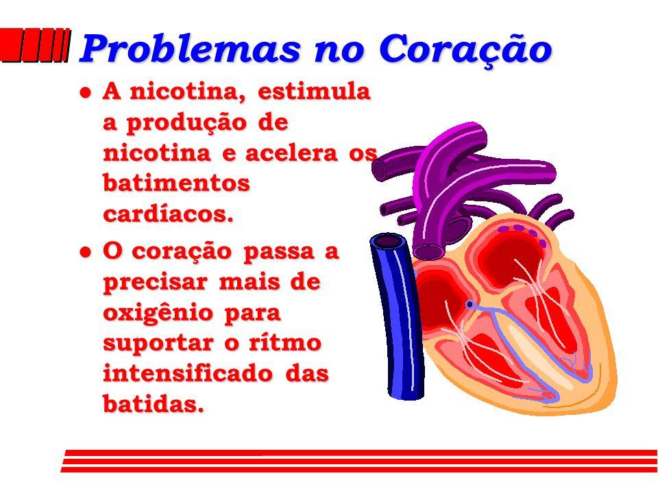 Problemas no Coração A nicotina, estimula a produção de nicotina e acelera os batimentos cardíacos.