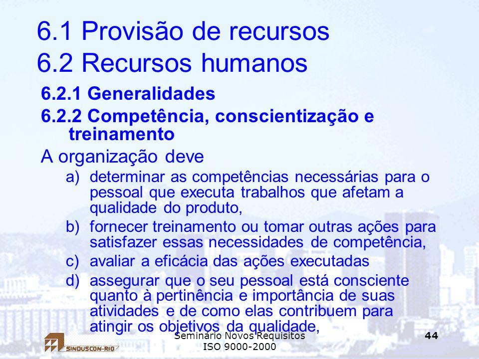 6.1 Provisão de recursos 6.2 Recursos humanos