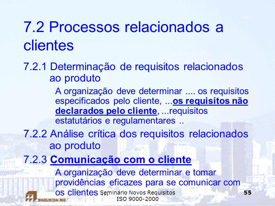 7.2 Processos relacionados a clientes