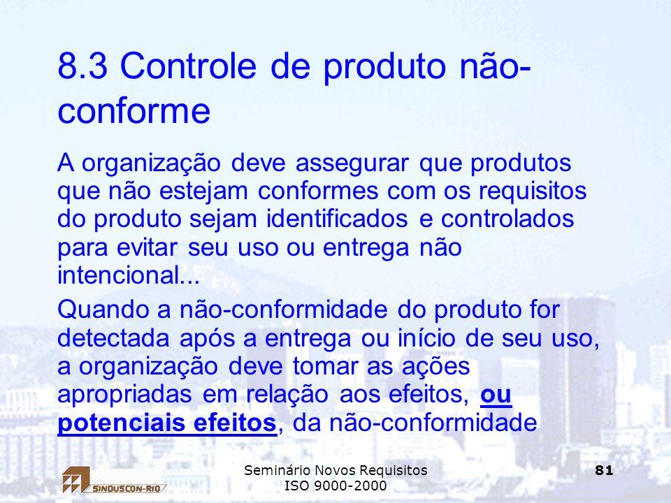 8.3 Controle de produto não-conforme