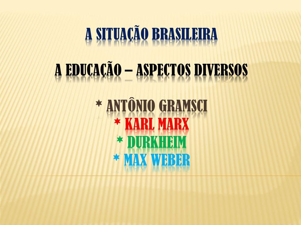 A situação brasileira a educação – ASPECTOS DIVERSOS. Antônio gramsci