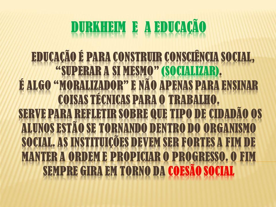 DURKHEIM E A EDUCAÇÃO Educação é para construir consciência social, superar a si mesmo (Socializar).
