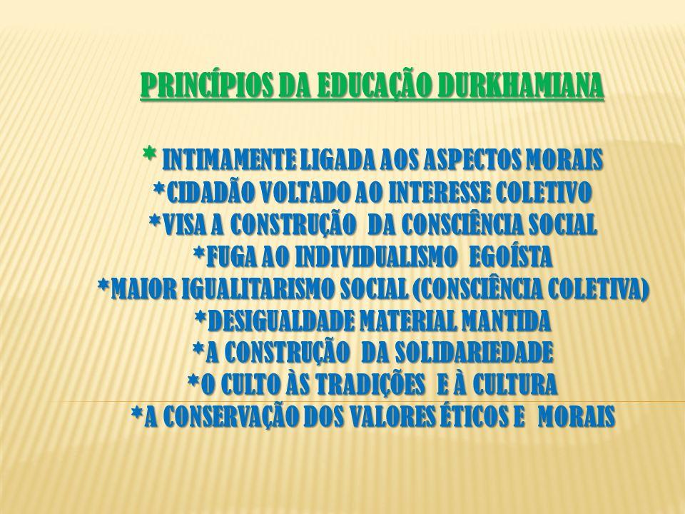 PRINCÍPIOS DA EDUCAÇÃO DURKHAMIANA