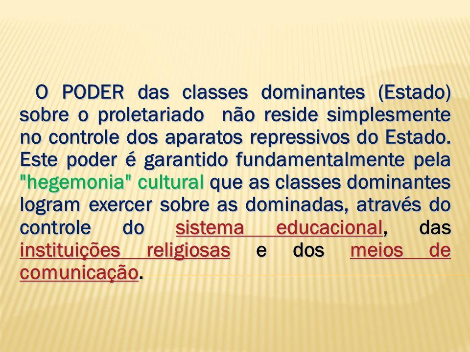 O PODER das classes dominantes (Estado) sobre o proletariado não reside simplesmente no controle dos aparatos repressivos do Estado.
