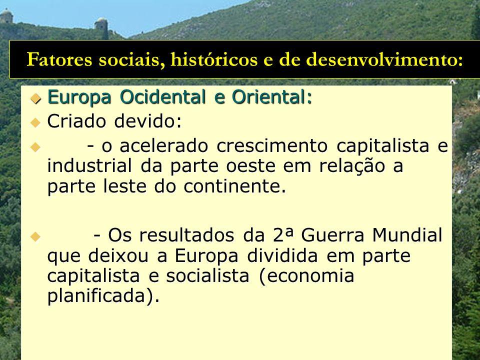 Fatores sociais, históricos e de desenvolvimento: