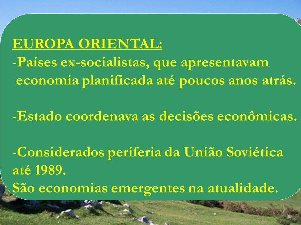 EUROPA ORIENTAL: Países ex-socialistas, que apresentavam. economia planificada até poucos anos atrás.