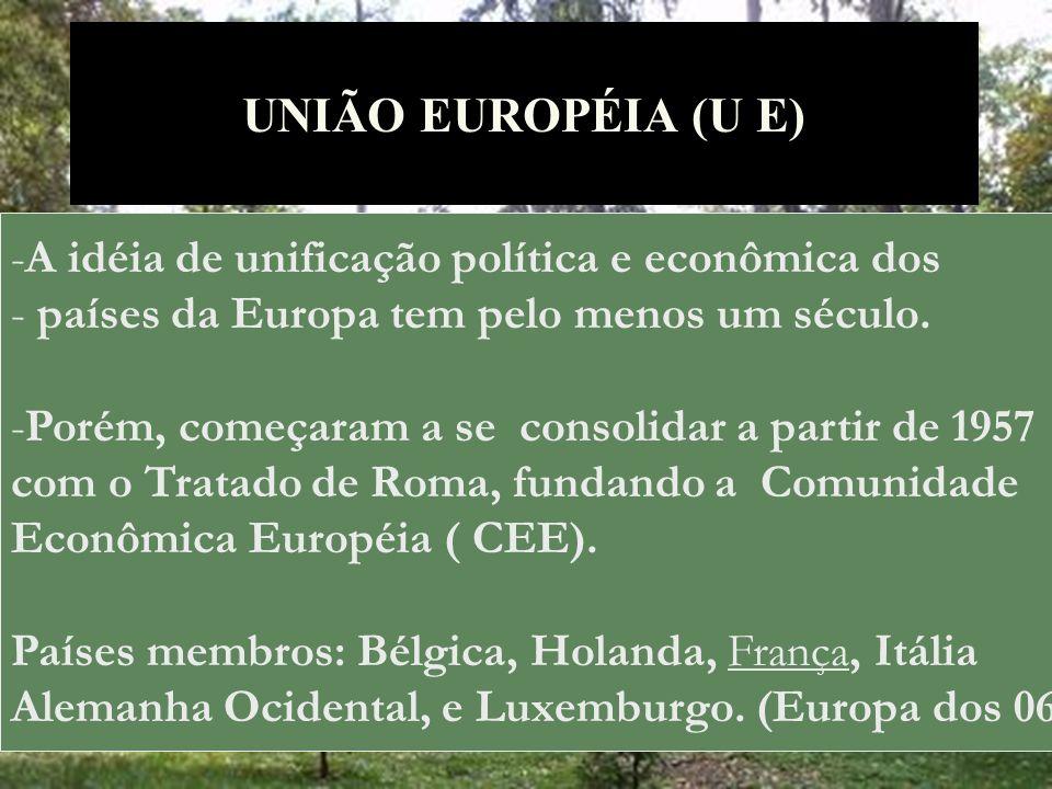 UNIÃO EUROPÉIA (U E) A idéia de unificação política e econômica dos