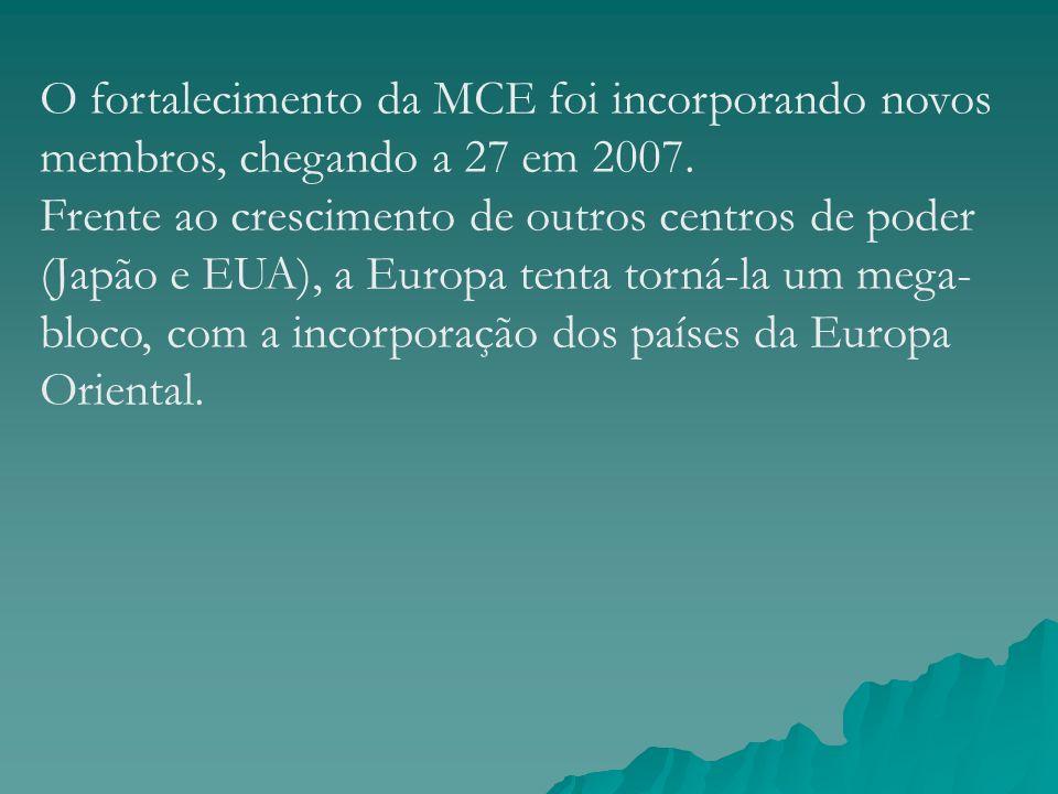 O fortalecimento da MCE foi incorporando novos membros, chegando a 27 em 2007.