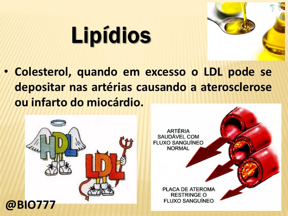 LipídiosColesterol, quando em excesso o LDL pode se depositar nas artérias causando a aterosclerose ou infarto do miocárdio.