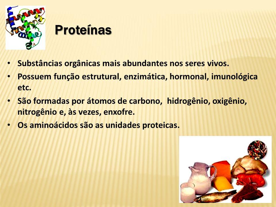 Proteínas Substâncias orgânicas mais abundantes nos seres vivos.