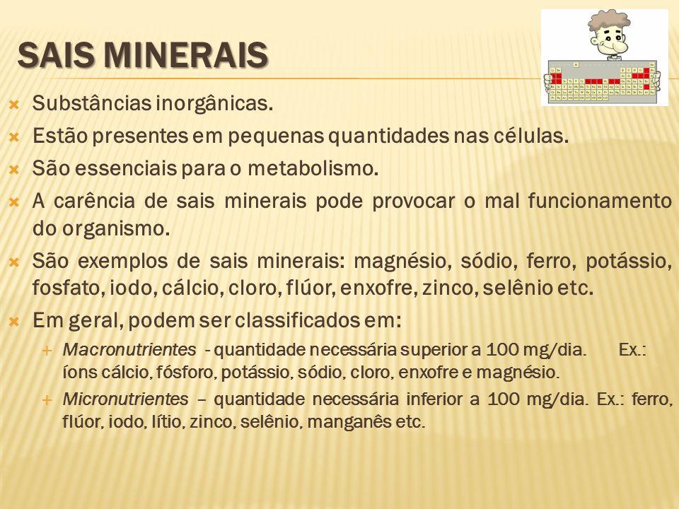 Sais Minerais Substâncias inorgânicas.