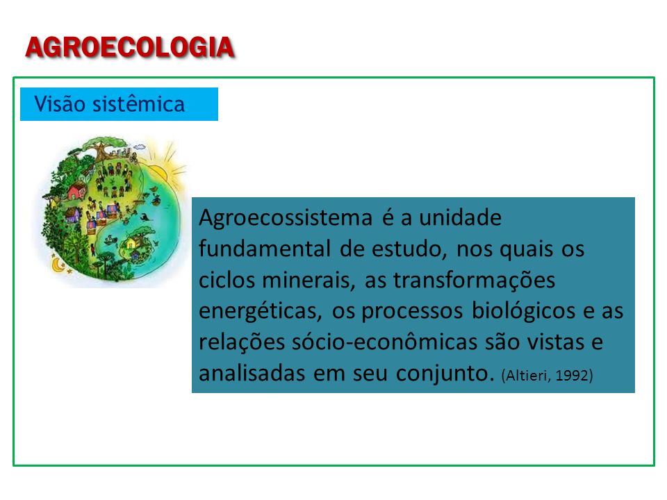 AGROECOLOGIA Visão sistêmica.