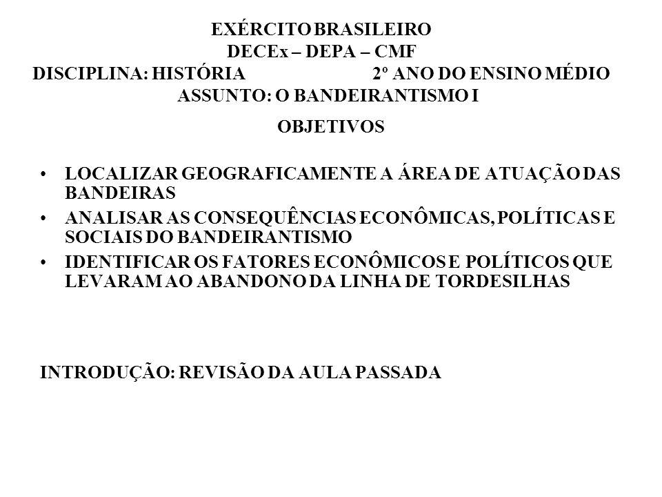 EXÉRCITO BRASILEIRO DECEx – DEPA – CMF DISCIPLINA: HISTÓRIA 2º ANO DO ENSINO MÉDIO ASSUNTO: O BANDEIRANTISMO I