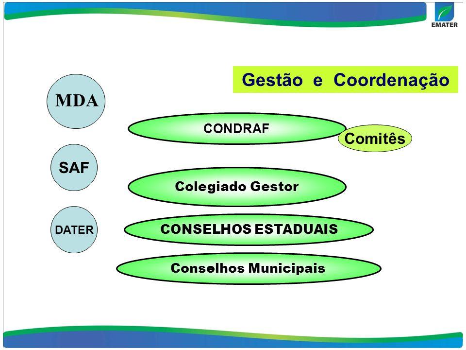 Gestão e Coordenação MDA Comitês SAF CONDRAF Colegiado Gestor