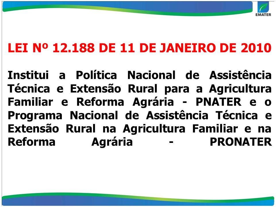 LEI Nº 12.188 DE 11 DE JANEIRO DE 2010 Institui a Política Nacional de Assistência Técnica e Extensão Rural para a Agricultura Familiar e Reforma Agrária - PNATER e o Programa Nacional de Assistência Técnica e Extensão Rural na Agricultura Familiar e na Reforma Agrária - PRONATER