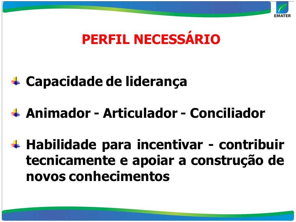 PERFIL NECESSÁRIO Capacidade de liderança. Animador - Articulador - Conciliador.