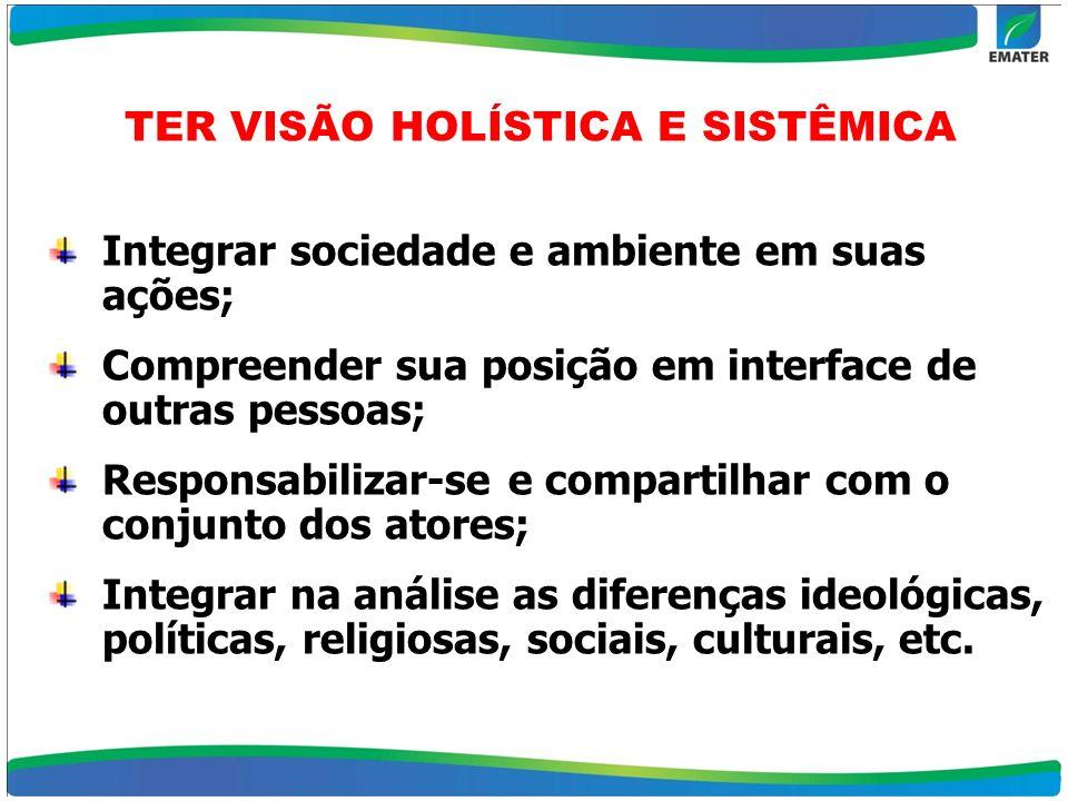 TER VISÃO HOLÍSTICA E SISTÊMICA
