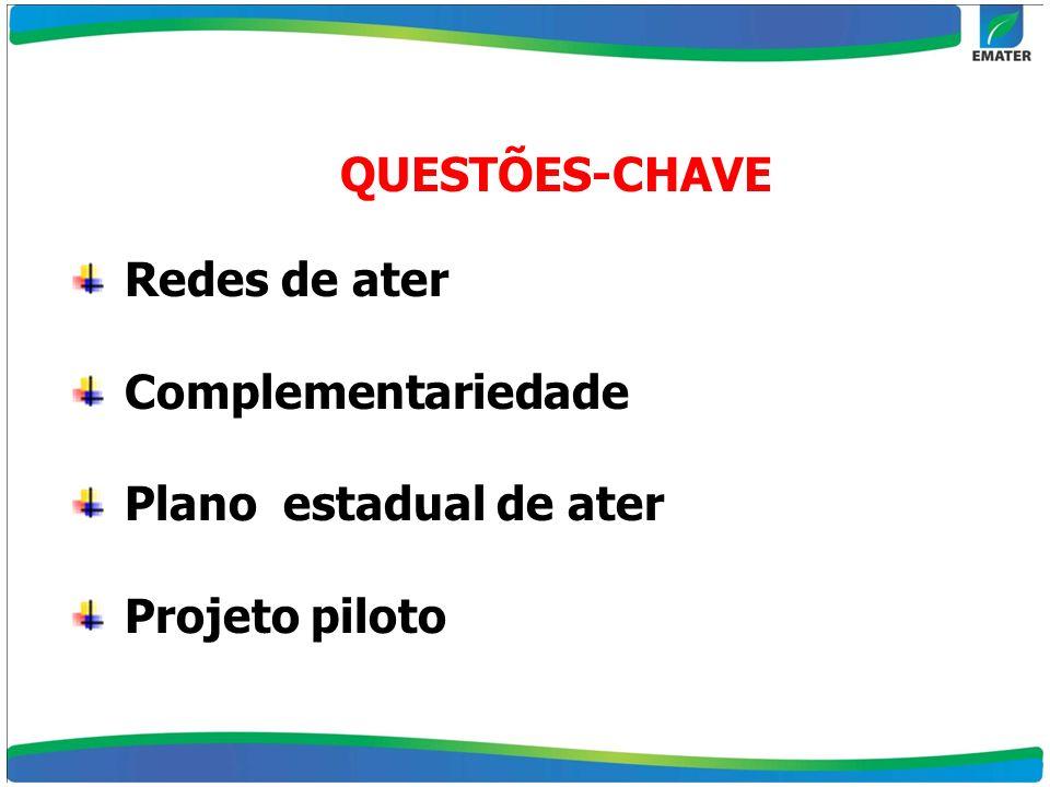 QUESTÕES-CHAVE Redes de ater Complementariedade Plano estadual de ater Projeto piloto