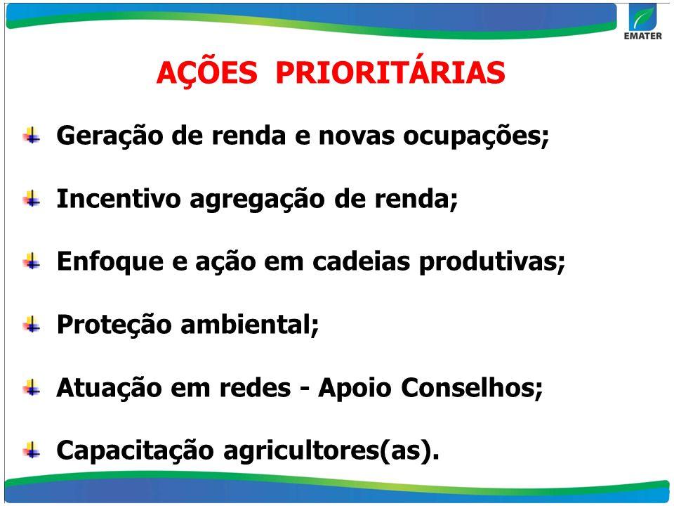 AÇÕES PRIORITÁRIAS Geração de renda e novas ocupações;