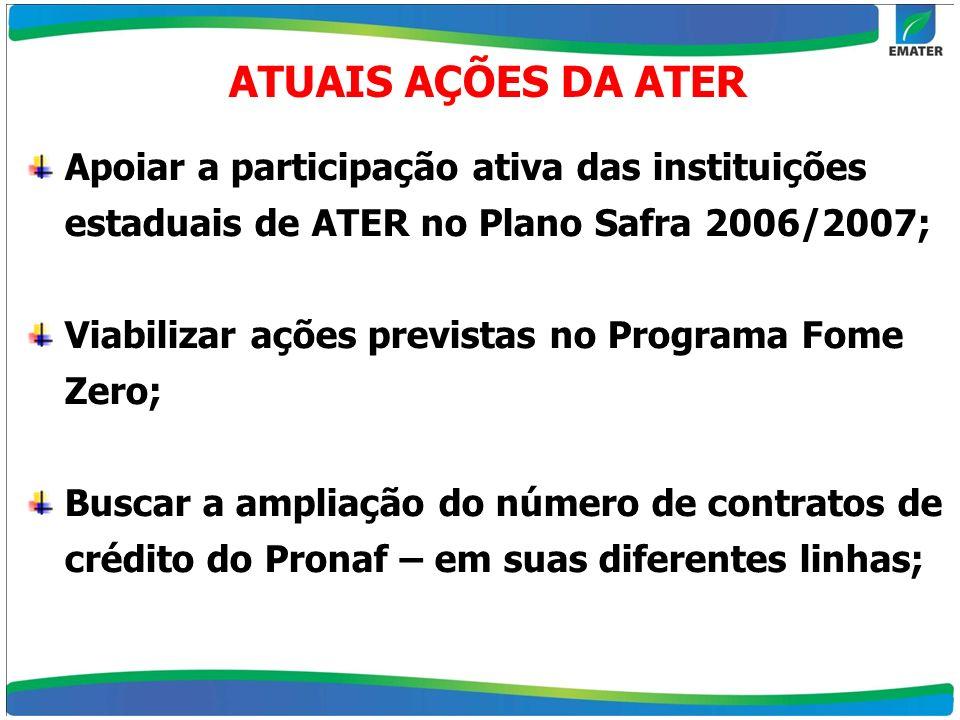 ATUAIS AÇÕES DA ATERApoiar a participação ativa das instituições estaduais de ATER no Plano Safra 2006/2007;
