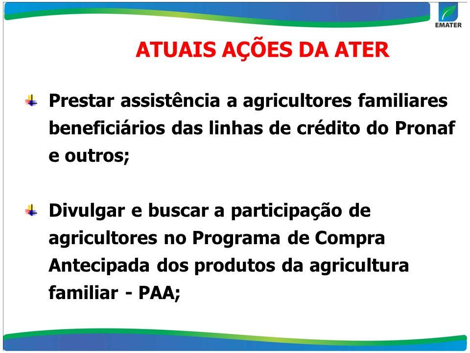 ATUAIS AÇÕES DA ATERPrestar assistência a agricultores familiares beneficiários das linhas de crédito do Pronaf e outros;