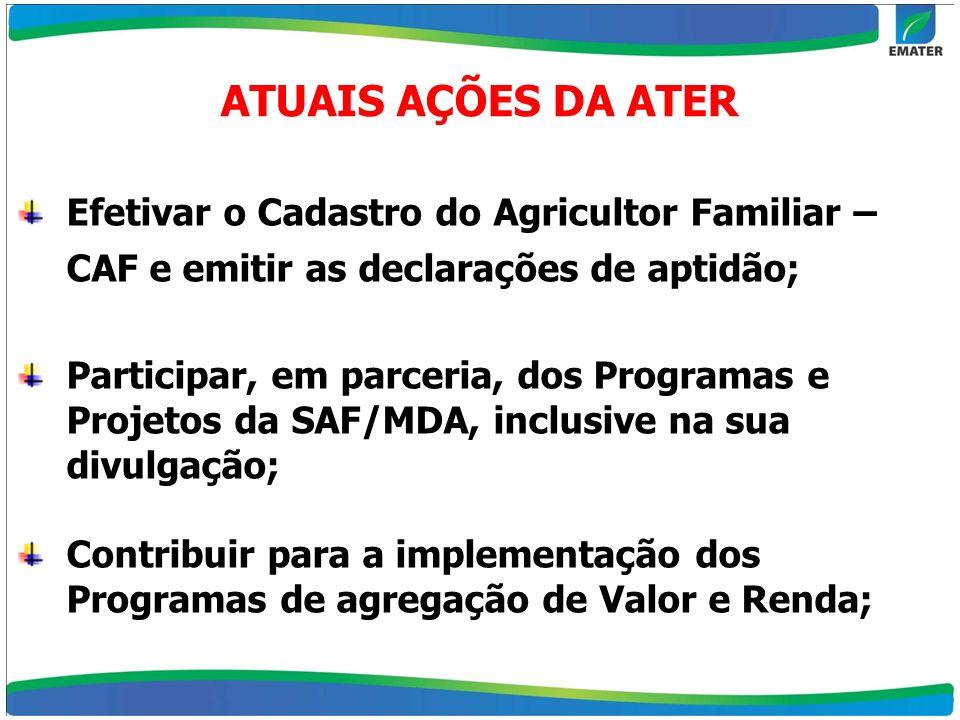 ATUAIS AÇÕES DA ATER Efetivar o Cadastro do Agricultor Familiar – CAF e emitir as declarações de aptidão;