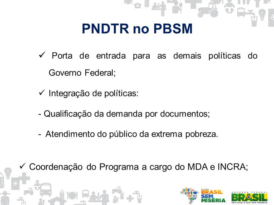 PNDTR no PBSM Porta de entrada para as demais políticas do Governo Federal; Integração de políticas: