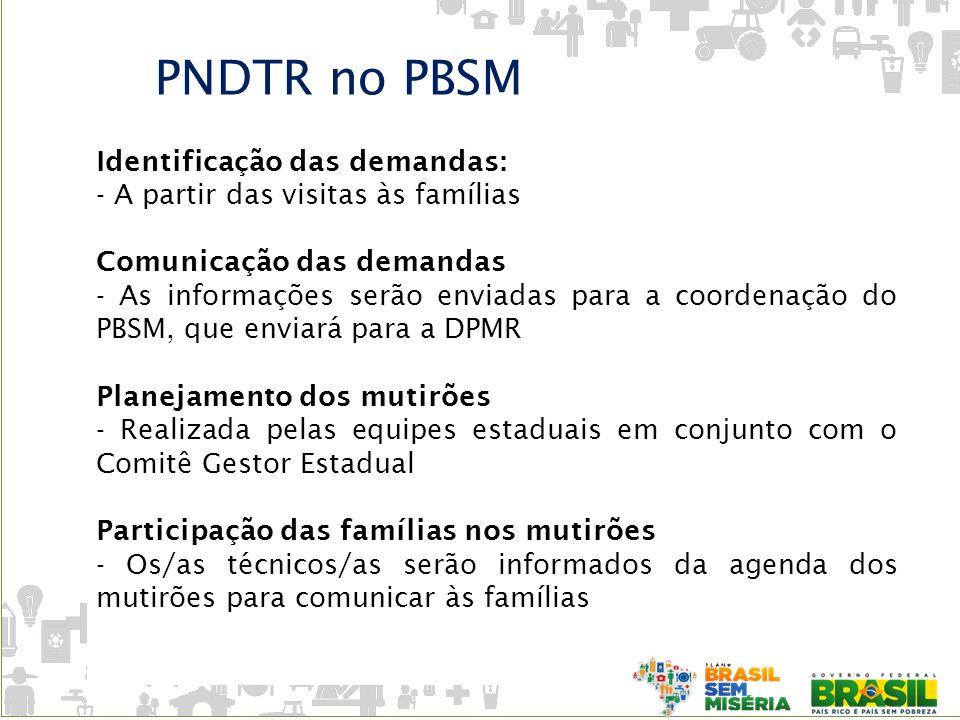 PNDTR no PBSM Identificação das demandas: