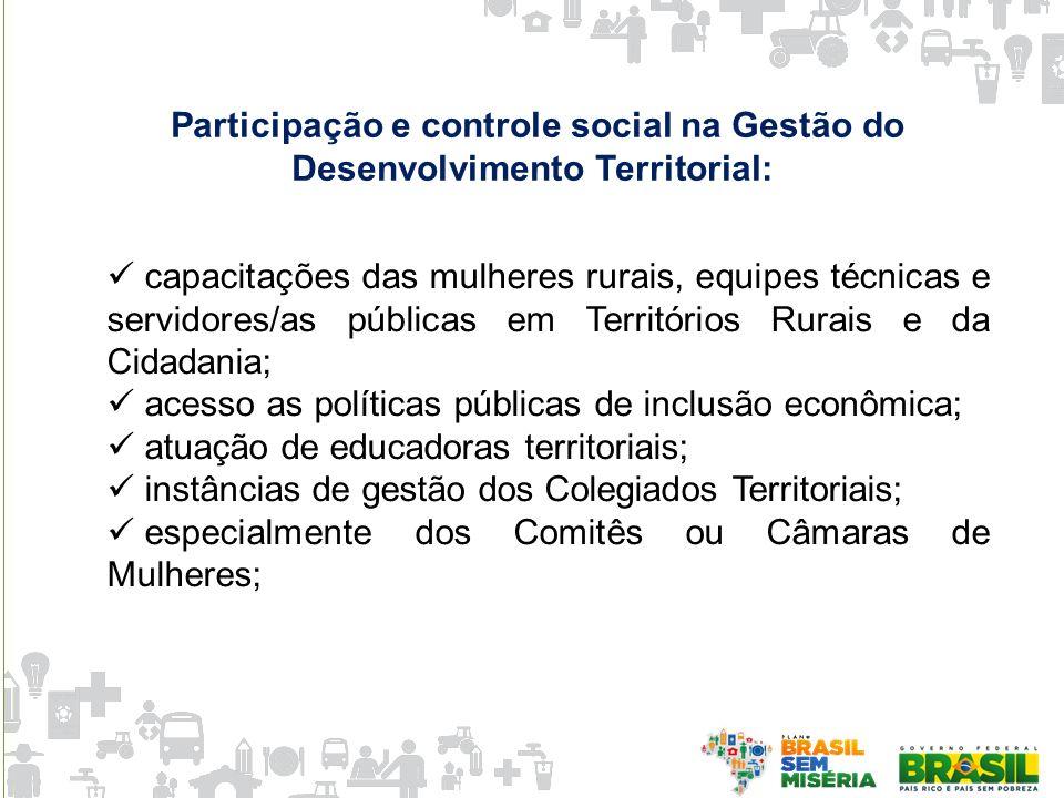 Participação e controle social na Gestão do Desenvolvimento Territorial: