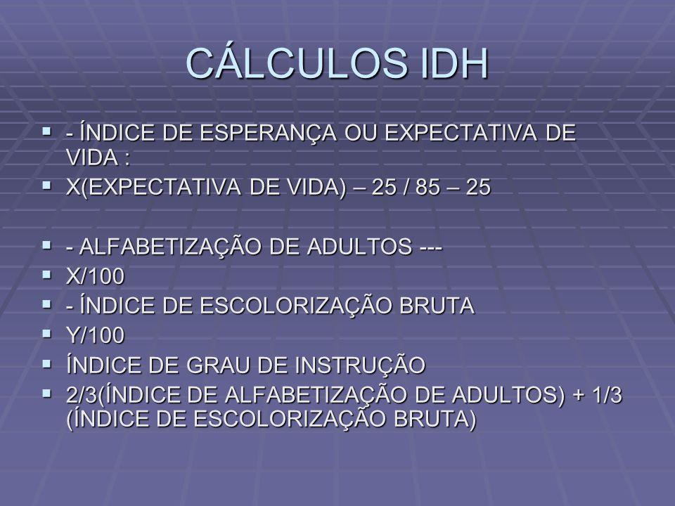 CÁLCULOS IDH - ÍNDICE DE ESPERANÇA OU EXPECTATIVA DE VIDA :
