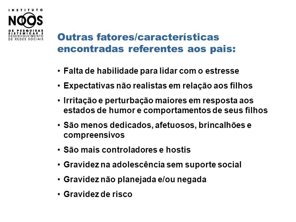 Outras fatores/características encontradas referentes aos pais: