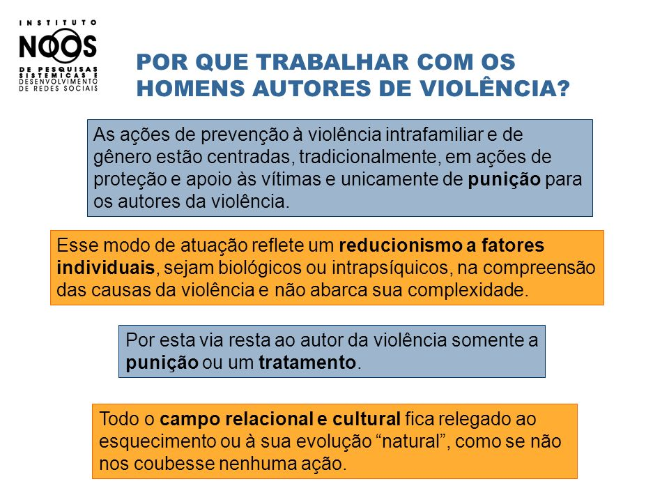 POR QUE TRABALHAR COM OS HOMENS AUTORES DE VIOLÊNCIA