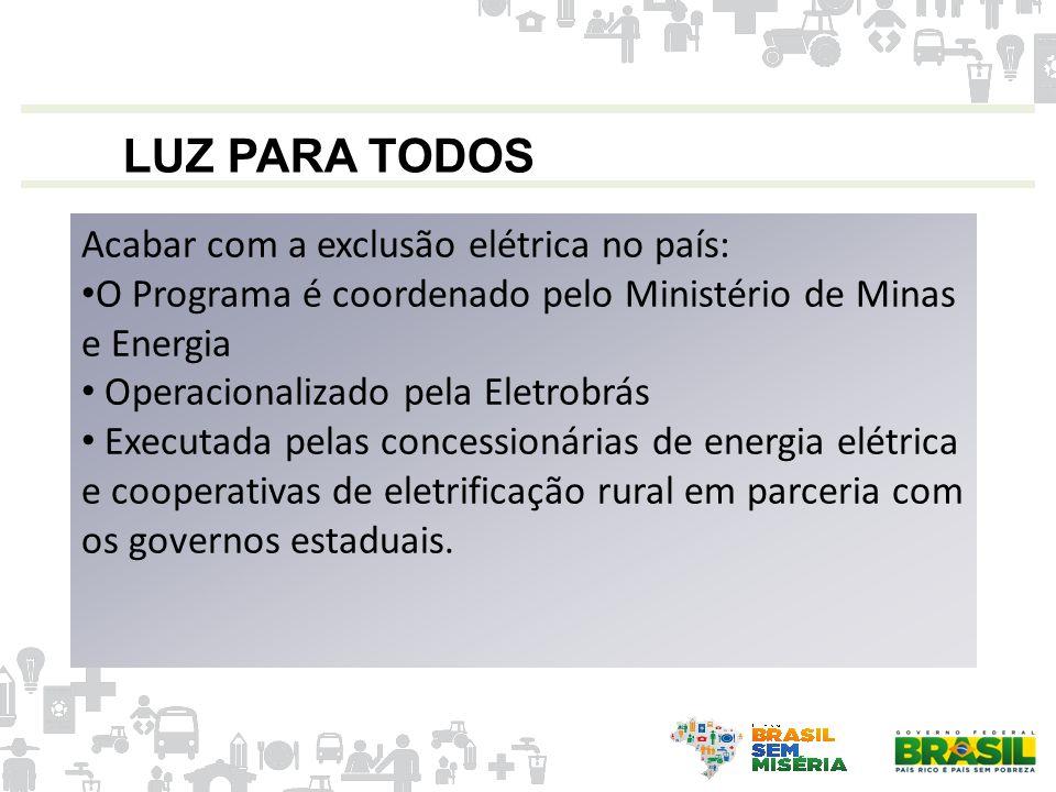 LUZ PARA TODOS Acabar com a exclusão elétrica no país: