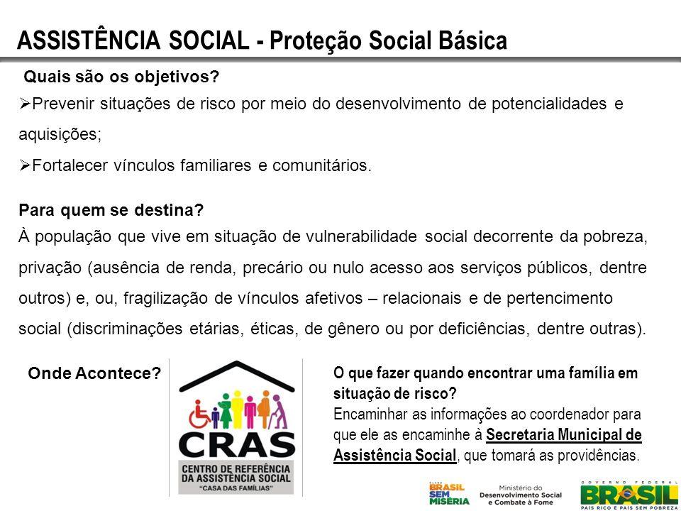 ASSISTÊNCIA SOCIAL - Proteção Social Básica