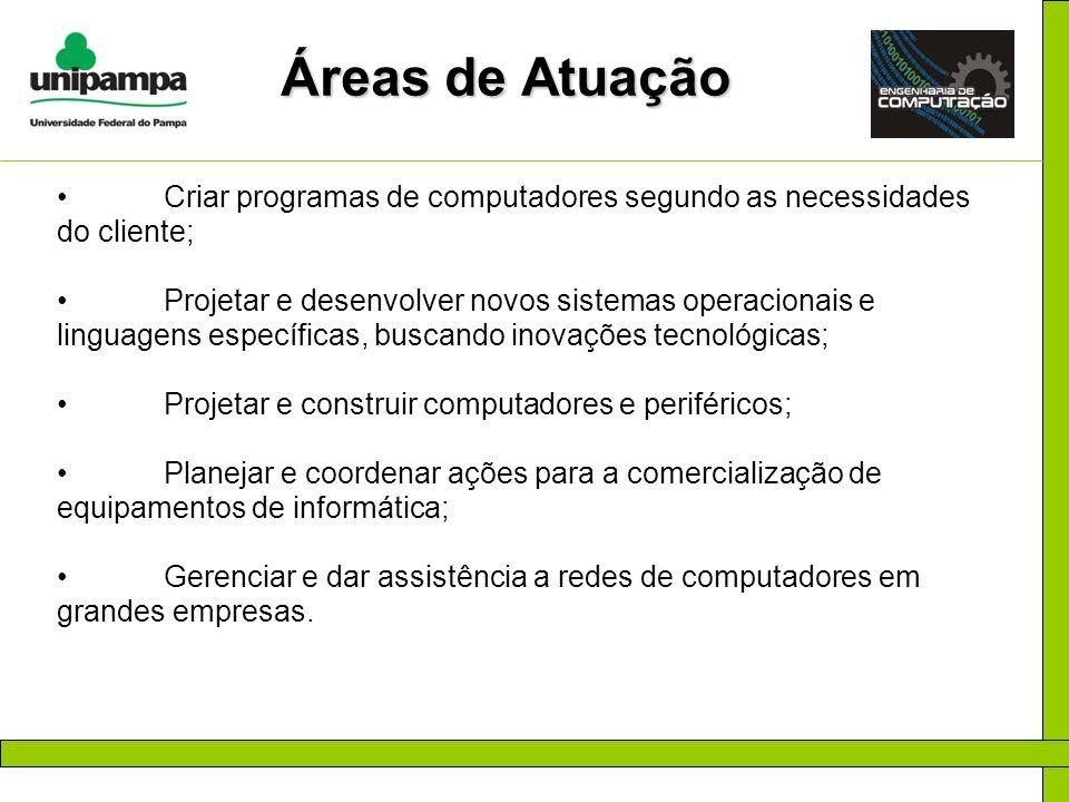 Áreas de Atuação Criar programas de computadores segundo as necessidades do cliente;