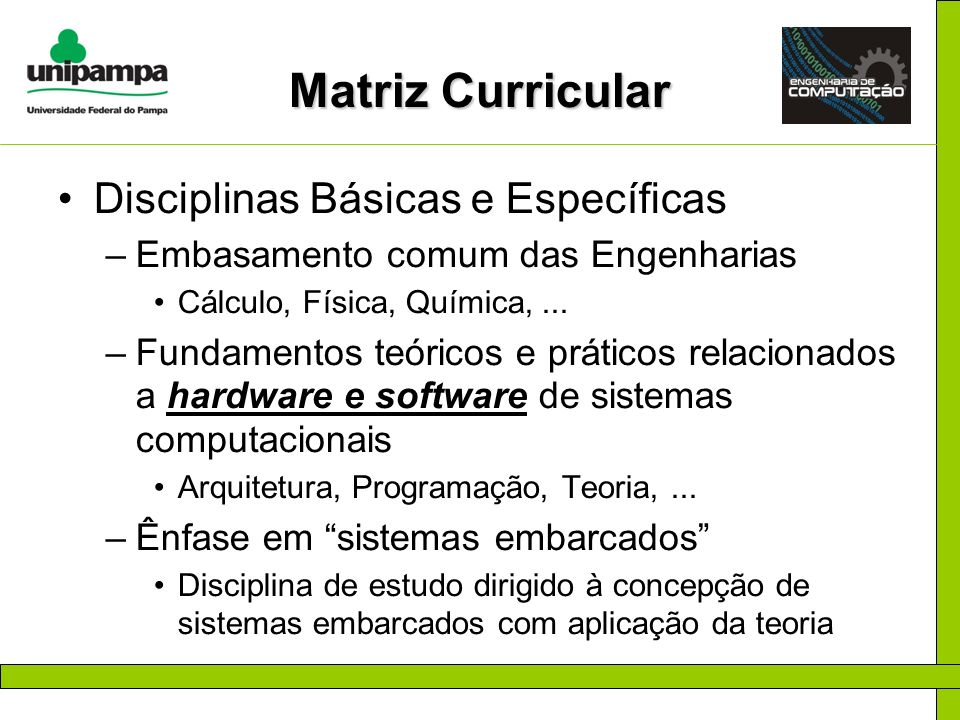 Matriz Curricular Disciplinas Básicas e Específicas