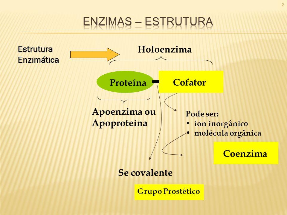 ENZIMAS – ESTRUTURA Holoenzima Proteína Cofator Apoenzima ou