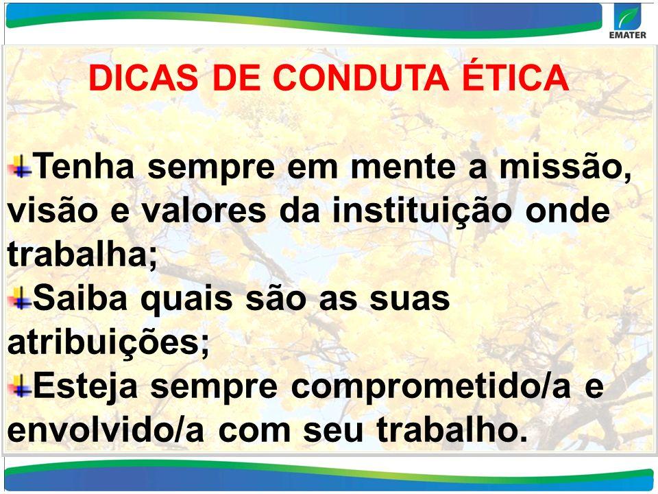 DICAS DE CONDUTA ÉTICA Tenha sempre em mente a missão, visão e valores da instituição onde trabalha;