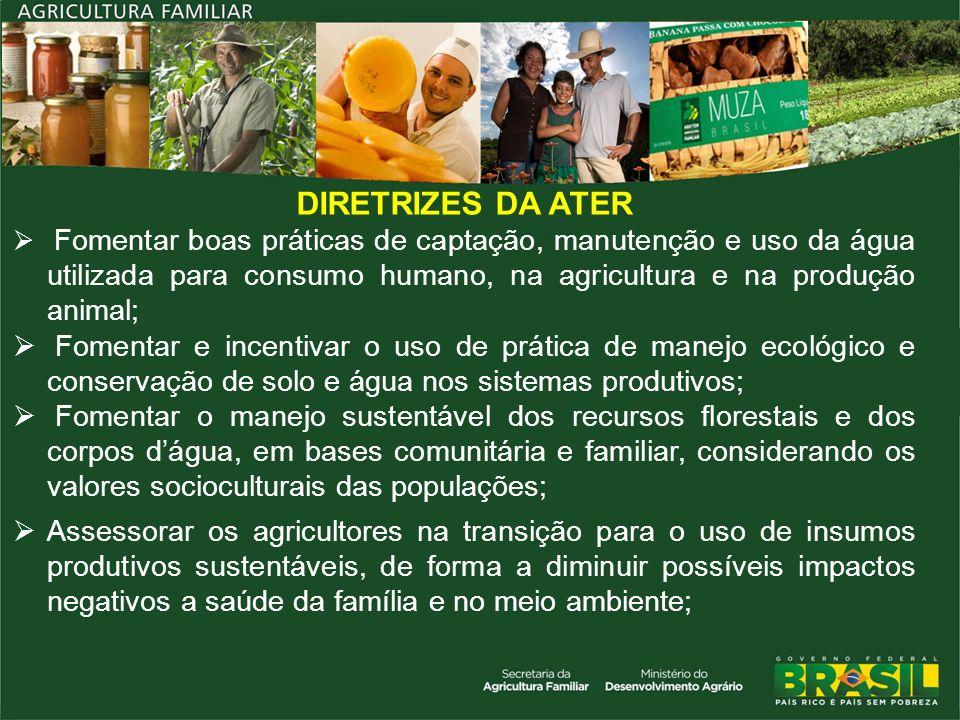 DIRETRIZES DA ATER Fomentar boas práticas de captação, manutenção e uso da água utilizada para consumo humano, na agricultura e na produção animal;
