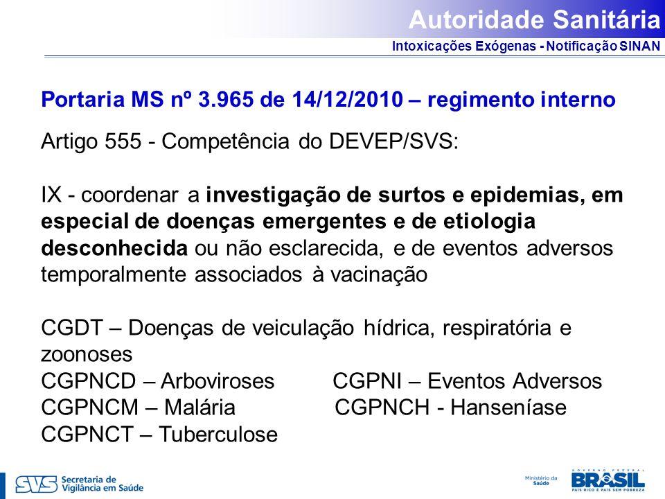 Autoridade SanitáriaPortaria MS nº 3.965 de 14/12/2010 – regimento interno. Artigo 555 - Competência do DEVEP/SVS: